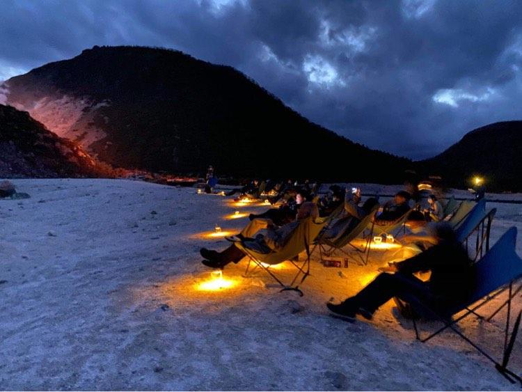 硫黄山のライトアップ